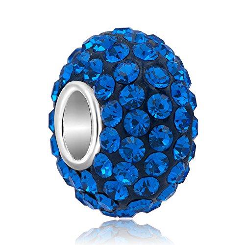 Uniqueen - Ciondolo in argento sterling con cristalli Swarovski Elements, compatibile con braccialetti per ciondoli e argento, colore: Blue, cod. GB_MYSS01_X04