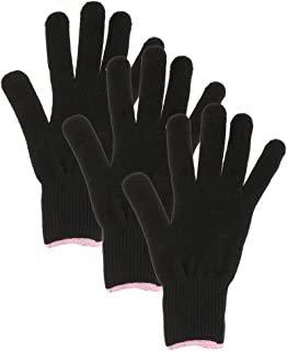 Flameer 3pcs Heat Resistant Glove for Hair Styling, Black Cotton Anti-Scald Hot Blocking Gloves for Flat Iron, Curling Wan...