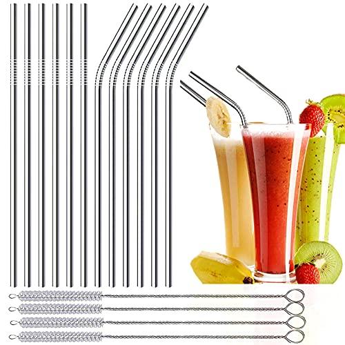 Strohhalm Edelstahl, Metall Strohhalm, Wiederverwendbare Strohhalme, 12er Set Metal Straw, Trinkhalme mit vier Reinigungsbürsten, Umweltfreundlich Strohalme Geeignet für Fruchtsaft und Getränk
