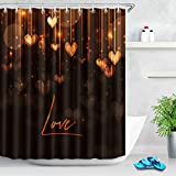 Romantic Love Heart Impermeable Tela Cortina de Ducha Liner Set Alfombrilla de baño 12 Ganchos