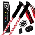 High Stream Gear Kid's Trekking Poles – Collapsible Telescopic Walking Sticks for Children – Brightly Colored Hiking Poles Made for Boys and Girls - Includes Carrier Bag and Accessories (Red)