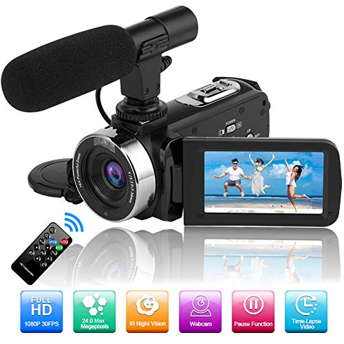 Camcorder Video Camera Full HD 1080P 30FPS 24.0MP Night Vision Camera for...