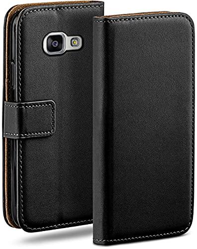 moex Klapphülle kompatibel mit Samsung Galaxy A3 (2016) Hülle klappbar, Handyhülle mit Kartenfach, 360 Grad Flip Hülle, Vegan Leder Handytasche, Schwarz