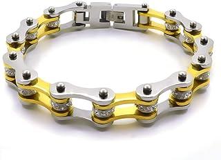 Bracciale catena moto braccialetto del motociclista in acciaio inox da uomo e da donna argento e oro con shopper e custodi...