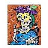 OPBGM Pablo Picasso Mujer sentada Vestido Azul Lienzo Pintura al óleo Arte Occidental Decoración Póster Lienzo Arte de la Pared para la decoración de la Sala de Estar -20X24 Pulgadas Sin Marco