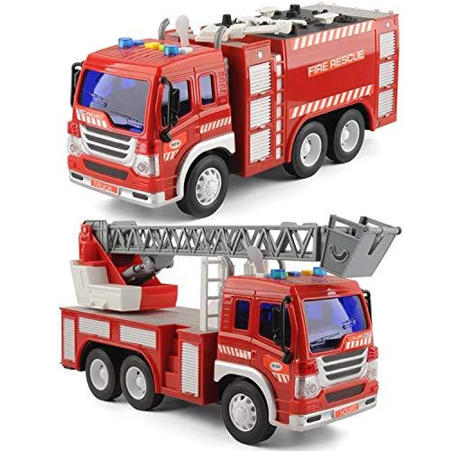 GizmoVine Macchinine per Bambini di 2 3 Anni, Attrito Camion con luci e Suoni, Prima educazione Car Toy Veicoli inerziali per Bambini e Bambini (Camion dei Pompieri 2 Pezzi)