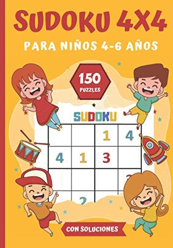 SUDOKU 4X4 para Niños 4-6 Años: Libro de Sudoku | clásico 4X4 adaptado a los niños más pequeños| Nivel Muy Fácil | 150 cuadrículas + soluciones | 17,78 x 25,4 cm - 52 páginas