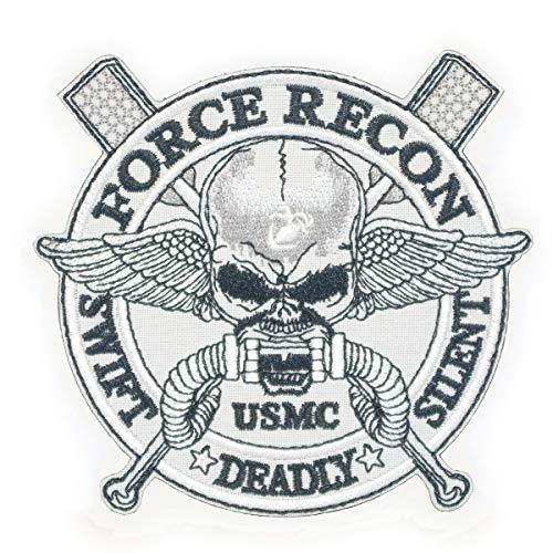 Cobra Tactical Solutions Force Recon Swift Silent Deadly US Marines Parche Bordado Táctico Moral Militar con Cinta adherente de Airsoft Cosplay para Ropa de Mochila Táctica