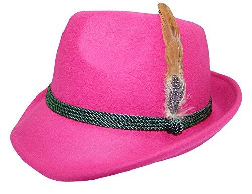 Trachtenland Damen Trachtenhut mit Feder Pink Gr. 59
