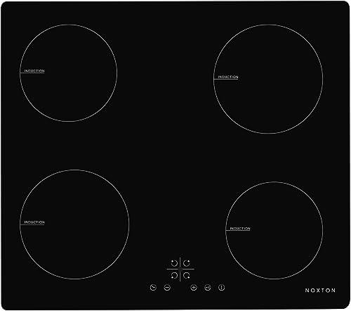 NOXTON Plaque de cuisson à induction encastrable Cuiseur de Table électrique 4 foyers de cuisson en verre Noir Avec C...