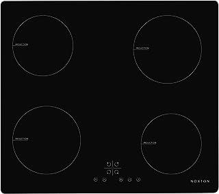 NOXTON Plaque de cuisson à induction encastrable Cuiseur de Table électrique 4 foyers de cuisson en verre Noir Avec Capteu...