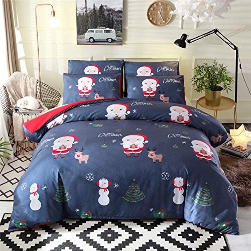 RENXR Christmas Fun Snowman Duvet/Quilt Cover Multi-Colour Kids Xmas Bedding Set With Pillowcases Print Duvet Cover,Single