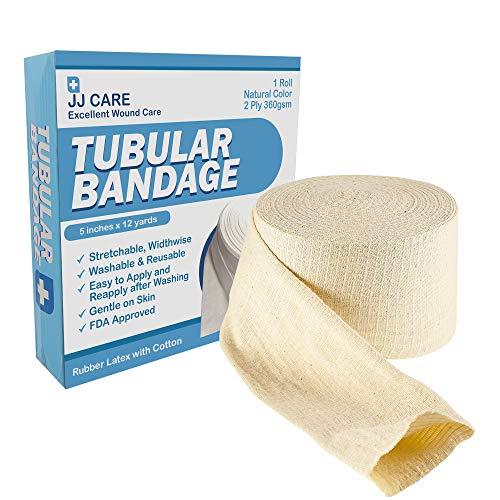 """Premium Elastic Tubular Bandage 5"""" x 12 Yards, Cotton Stockinette Size G, Tubular Stockinette for Legs and Knees, 2 Ply Cotton Elastic Bandage Wrap, Tubular Compression Bandage by JJ CARE"""