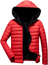 Alalaso Bown Jacket for Men, Men's Hooded Jacket Casual Warm Puffer Down Coat with Fur Hood for Winter