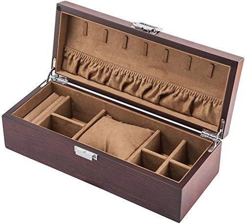 Caja de reloj para guardar joyas Caja de madera para reloj con cerradura Cojines suaves Almohada de muñeca para hombres o mujeres Relojes de pulsera Joyas Colecciones de pulseras Exhibición Estuches