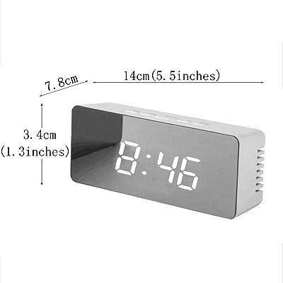 ZHZLX-alarm clock Reloj Despertador Espejo Decorativo Digital PortáTil 12/24 Horas Posponer La