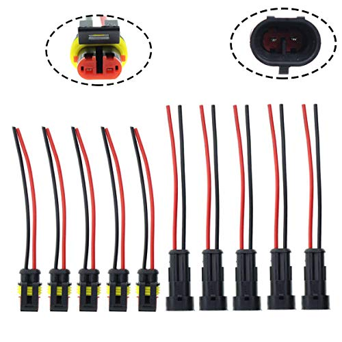 MOTOALL 5 kits 2 Pin Way 16 AWG Waterproof Connector Male & Female Socket Plug Pigtail Wire Harness Lead Wiring Loom 1.5mm Series Terminal Black for Car Truck Boat Motorcycle Scooter Quad Bike Marine