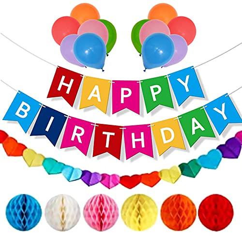 Babioms Decoraciones Para Cumpleaños Garland Bunting Banner,Globos De Látex,Diseño De Panal De Abeja, Accesorios Fiesta, Unisex Decoraciones De Cumpleaños Coloridas.