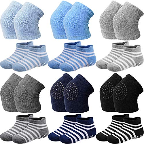 12 Pairs Baby Crawling Anti-Slip Knee Pads Non-Slip Ankle Sock Knee Pad for Baby ()