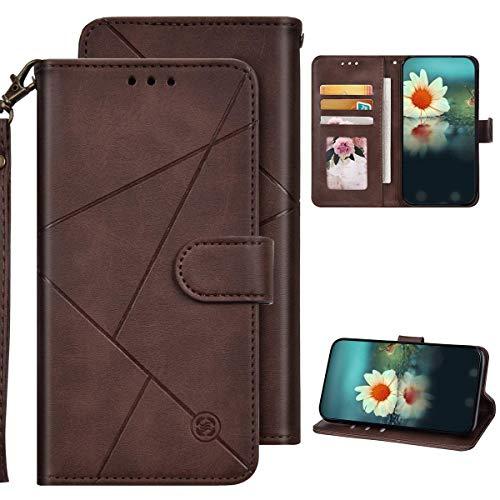Kompatibel mit Samsung Galaxy A6 Plus 2018 Hülle Leder Tasche Flip Hülle Schutzhülle,Geometrische Muster PU Leder Wallet Handy Tasche Magnetisch Klapphülle mit Kartenfächer,Braun