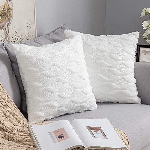MIULEE 2er Set Wolle Kissenbezüge Dekokissen Polyster Sofakissen Weich Couchkissen Kissenbezug Zierkissenbezug mit Verstecktem Reißverschluss für Wohnzimmer Schlafzimmer 40x40 cm Reines Weiß