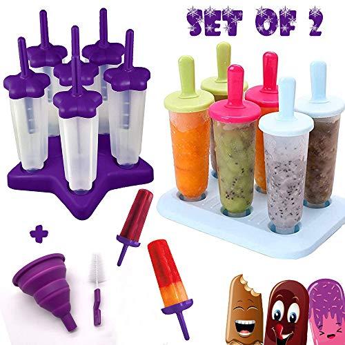 HelpCuisine® 2er-Set EIS am Stiel Bereiter, 12 Eisformen mit Reinigungsbürste und Falttrichter.