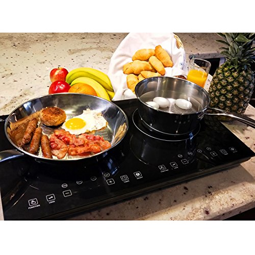 Evergreen Home 1800W Double Digital Induction cooker Cooktop | Portable Countertop Burner-Easy To...
