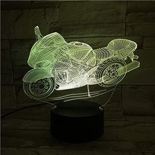 XLLQYY 3D Illusion Light Led Night Light Motorcycle USB Touch Sensor 7 Colores Cambiar niño Boy Scooter Lámpara de Mesa Dormitorio Decoración Niños S Cumpleaños Vacaciones Regalos