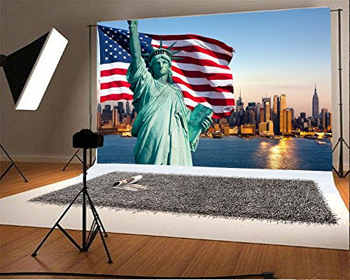 YongFoto 2,2x1,5m Vinilo Fondo de Fotografia Estatua de la Bandera Americana Estatua de la Libertad York Telón de Fondo Fiesta Niños Boby Boda Adulto Retrato Personal Estudio Fotográfico Accesorios