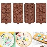 Stampo per cioccolatini, 4 pezzi in silicone per dolci, cupcake, muffin, cubetti di ghiacc...