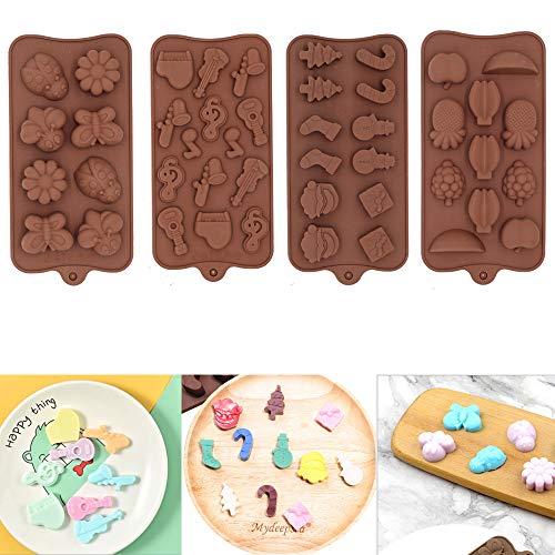 Set di 4 stampi in silicone per cioccolatini, Babbo Natale, frutta, insetti, strumenti musicali, 4 formine antiaderenti, per dolci, torte, cubetti di ghiaccio