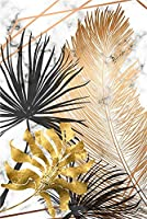 ZLFPTT 北欧のキャンバスは金葉植物の画家を描いて居住して壁の芸術の大理石の模様の背景の芸術のポスターと印紙の客間を飾ります。 (Color : E, Size (Inch) : 13x18cm 5x7inch)