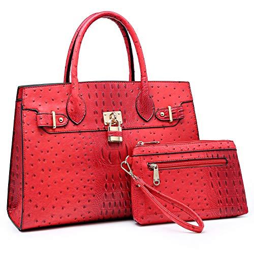 Women Handbags and Purses Ladies Shoulder Bag Ostrich Top Handle Satchel Tote Work Bag with Wallet (Red)