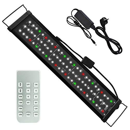 Lumiereholic - Rampa LED para acuario, 60 cm, luz regulable, con mando a distancia, 60 cm – 90 cm, extensible, enchufe europeo,...