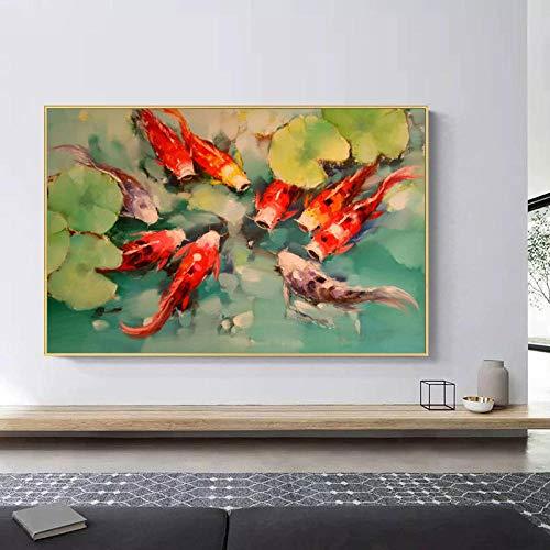 KDSMFA Koi Fish Feng Shui Carp Lotus Pond Imagen Póster de Pintura en Lienzo e Impresiones Arte de Pared para Sala de Estar Decoración Moderna para el hogar Sin Marco / 60x80cm (23x31inch)