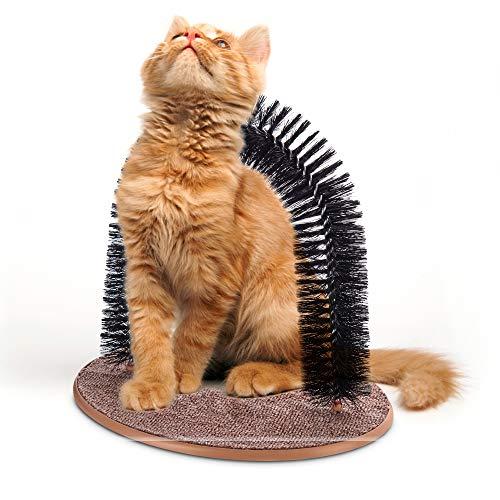 Petlicity Massage- und Kratzbogen für Katzen und Kätzchen, mit weichen, bequemen Borsten, Braun