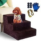 Masthome Hundetreppe mit Haustierhandschuhen, 3 Stufen, rutschfeste Bettleiter für Haustiere, für kleine Katzen und Hunde