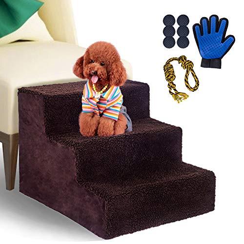 Masthome Hundetreppe 3-Stufen rutschfeste Bettleiter mit Haustierhandschuhen und Hundebissseilknoten Einfache Montage Haustier Treppe für Kleine Katzen und Hunde