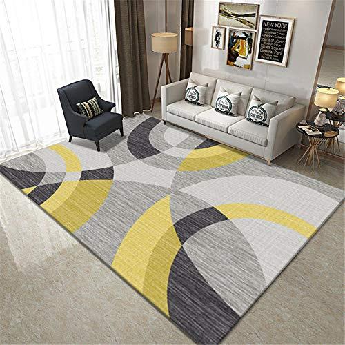 RUGYUW Alfombras Salón Diseño de patrón de semicírculo Negro Gris Amarillo,Moderno Decorativa Lavable Peluda Antideslizante Yoga Alfombra (4'7''X6'7''ft)