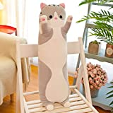 Decanyue Large 50-150cm New Long cat Pillow Pillow Room Decoration Sleeping Pillow cat Doll Plush Toy 150 cm Gray