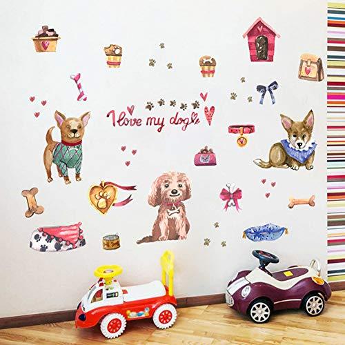 TAOYUE Mignon peint chien chenil dessin animé stickers muraux chambre d'enfant chambre bébé salon animalerie décor autocollant autocollants