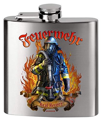 MCK Austria Design Flachmann Metall - Bedruckt anstelle Gravur - für den Feuerwehrmann - The real Heros