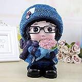 WZ YDTH Decoration Crafts Cute Flower Snowman Piggy Bank Large Capacity Resin Craft Piggy Bank Girl Birthday Present