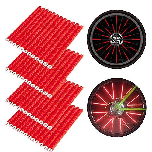 BOYATONG reflectores de Bicicleta para radios, Reflector de radios de Bicicleta, Clips Reflectantes para radios, Clips reflectores de radios Bicicleta niños de Colores (Rojo)