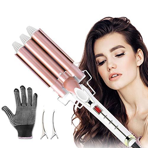 Lockenstab 3 Fässer, SSAWcasa Fässer Lockenstab 22mm LCD Bildschirm einstellbare Temperatur 80-230 °C Fässer Lockenstab Haar Styling Werkzeug für Lange/kurze Haare