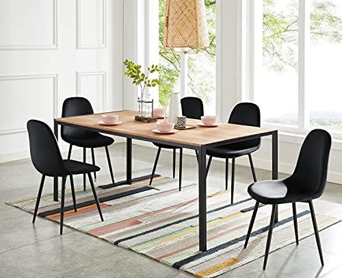 BAÏTA Table à Manger Soho, Bois et métal Noir, L180cm