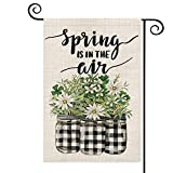 AVOIN Spring is in The Air Buffalo Plaid Vase Flower Garden Flag Vertical Double Sized, Floral Holiday Party Yard Outdoor Decoration 12.5 x 18 Inch