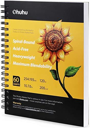 Quaderno per schizzi Ohuhu Art Sketchbook, 254x193mm, 120LB/ 200 GSM Carte da disegno lisce pesanti, 60 fogli/120 pagine quaderno con copertina rigida, appositamente progettato per pennarelli alcolici