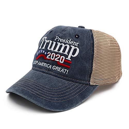 nobrand New Donald Trump 2020 Cap Baseballmützen aus gewaschenem Netz Keep America Great Snapback President Hat Embroidery