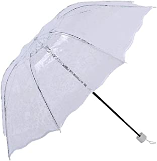 ZYSWP Hand Opening Folding Sunny and Rain Dual Use Weatherproof Portable Lightweight Umbrella (Color : White)